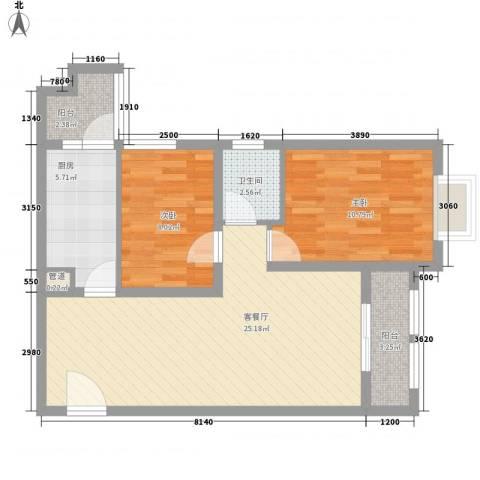 尚城国际2室1厅1卫1厨82.00㎡户型图