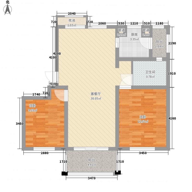 丽都华庭100.00㎡2房2厅1卫100㎡户型2室2厅1卫1厨