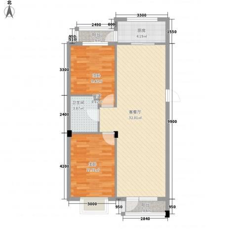 和嘉・佳园2室1厅1卫1厨85.00㎡户型图