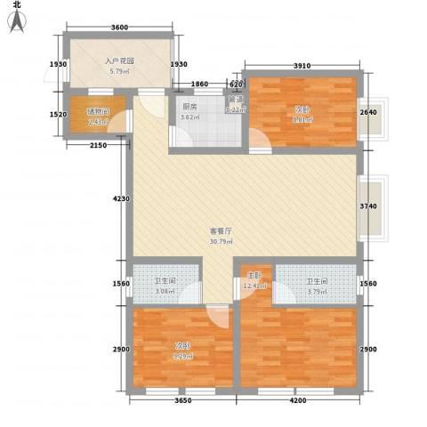 尚城国际3室1厅2卫1厨80.23㎡户型图