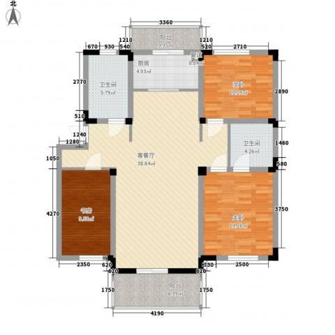 东骏豪苑四期3室1厅2卫1厨137.00㎡户型图