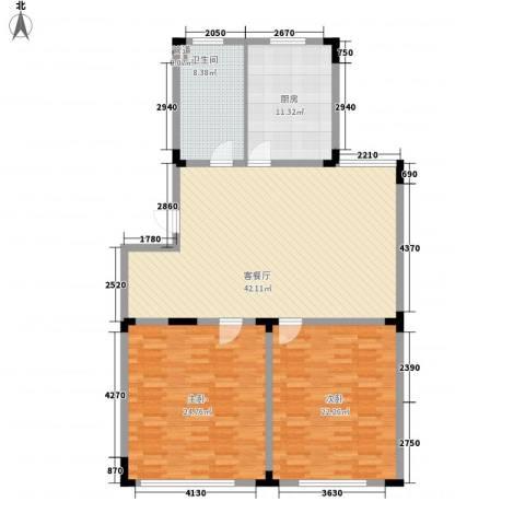 元一时代花园2室1厅1卫1厨149.00㎡户型图