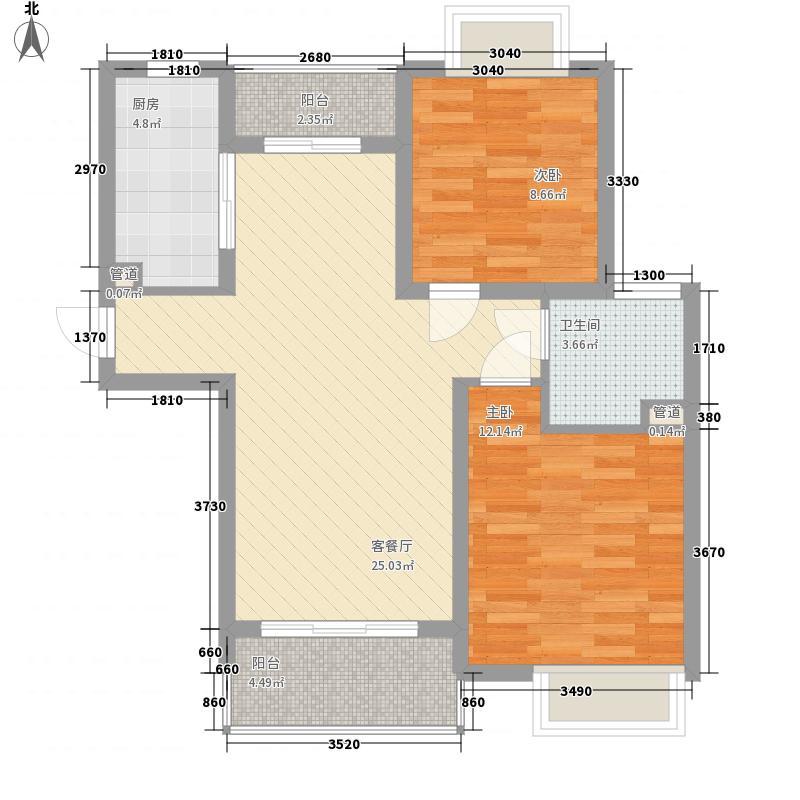 三花现代城三期金�苑88.00㎡户型2室2厅1卫