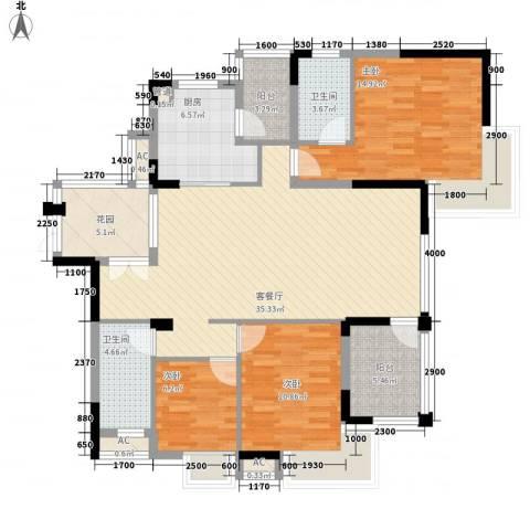 三正卧龙山3室1厅2卫1厨124.00㎡户型图