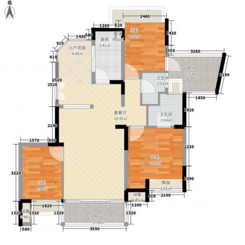 南沙境界・藏峰3室1厅2卫1厨105.00㎡户型图