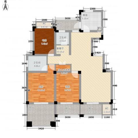 常发香城湾3室1厅2卫1厨113.00㎡户型图
