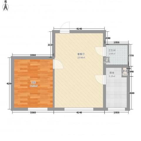 东亚・国际城1室1厅1卫1厨63.00㎡户型图