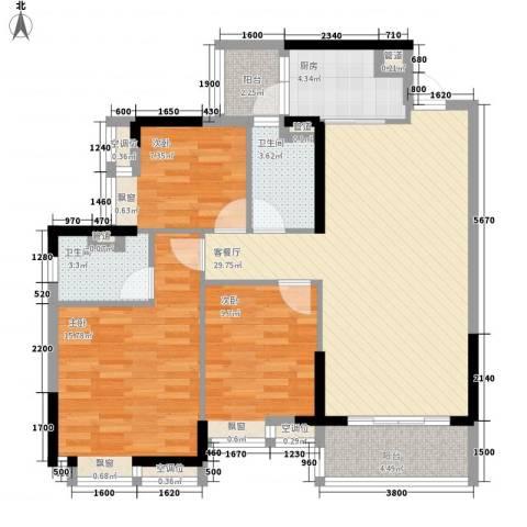 奥园金域3室1厅2卫1厨106.00㎡户型图