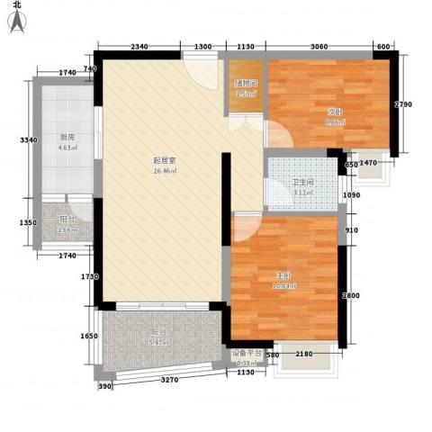 中海国际社区2室0厅1卫1厨93.00㎡户型图