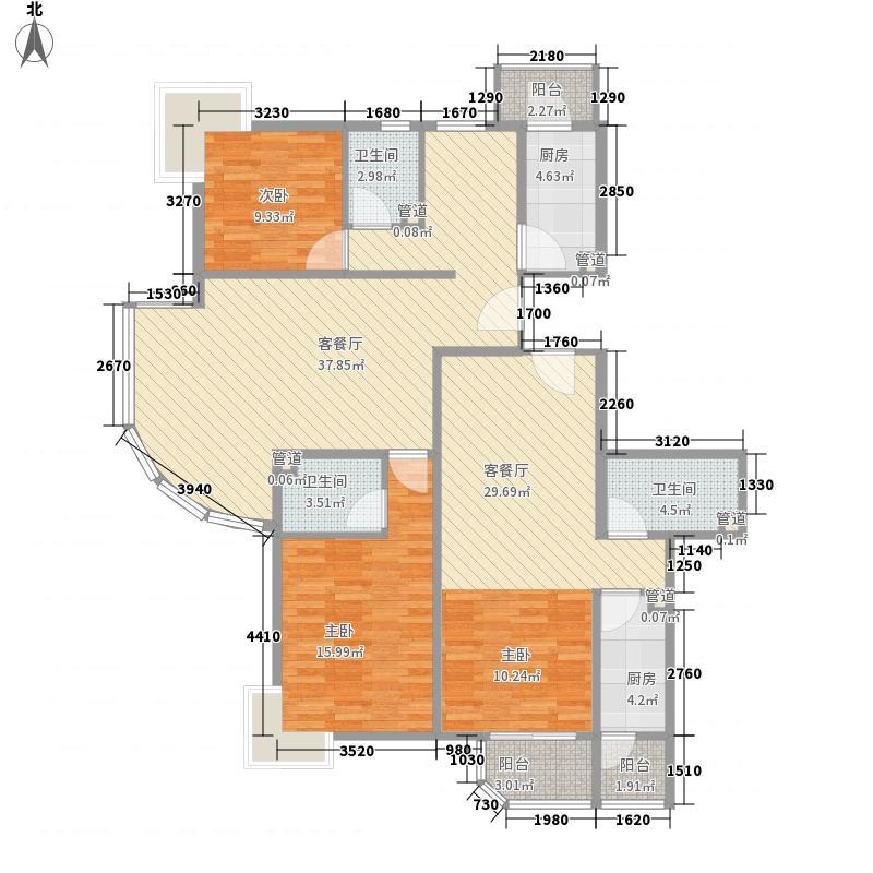 瑞丽江畔54.70㎡3、5号楼户型3室2厅2卫1厨