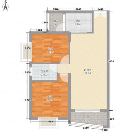 秋园雅苑2室0厅1卫1厨88.00㎡户型图