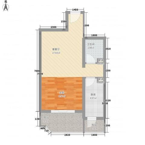 瑞丽江畔1厅1卫1厨58.00㎡户型图