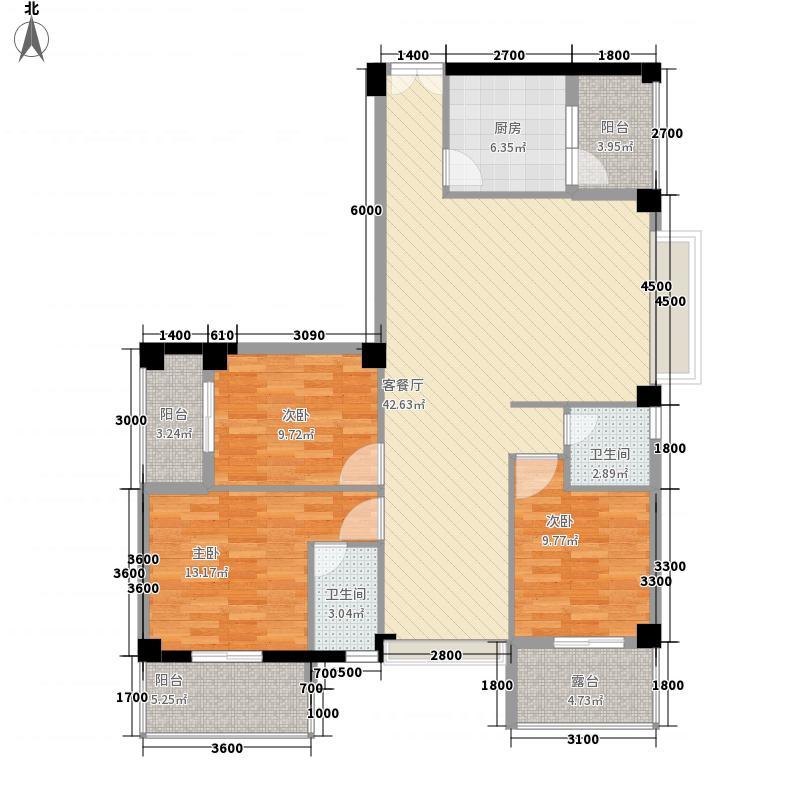 亿力悦海127.75㎡3梯2、5、8、11层01单元-户型3室2厅2卫1厨