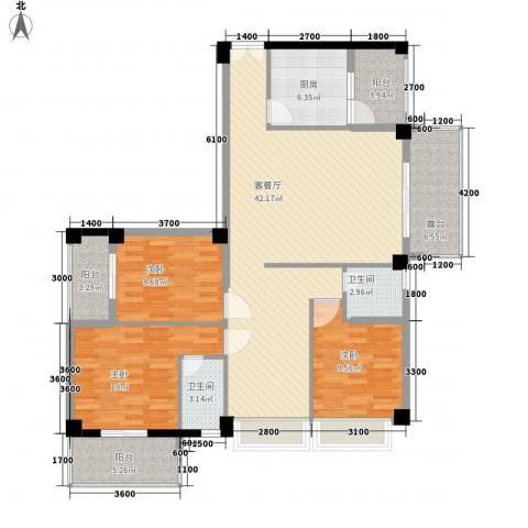 亿力悦海3室1厅2卫1厨128.00㎡户型图