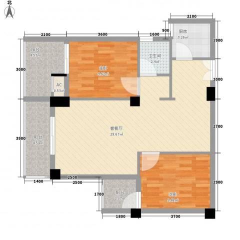 亿力悦海2室1厅1卫1厨128.00㎡户型图