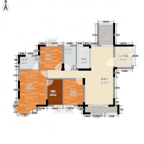 健逸天地三期4室1厅2卫1厨132.00㎡户型图