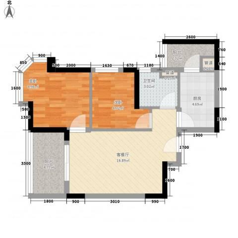 三明碧桂园2室1厅1卫1厨47.80㎡户型图