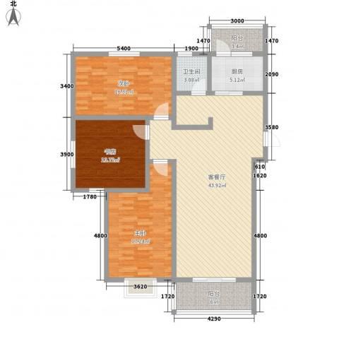 嘉禾・盛世豪庭3室1厅1卫1厨155.00㎡户型图