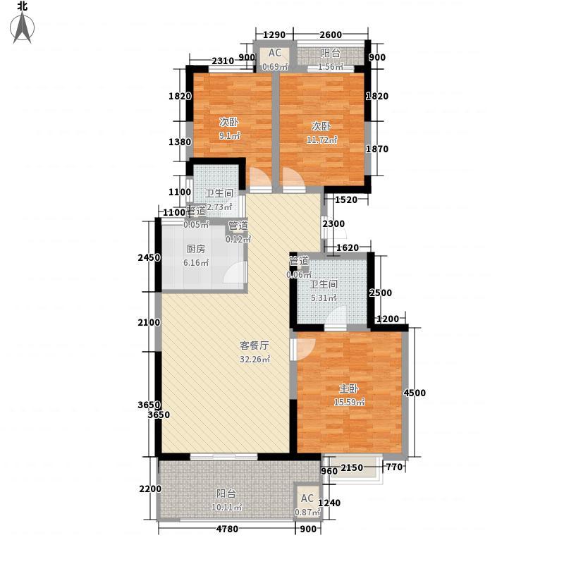 铜雀台16.00㎡E户型3室2厅2卫1厨