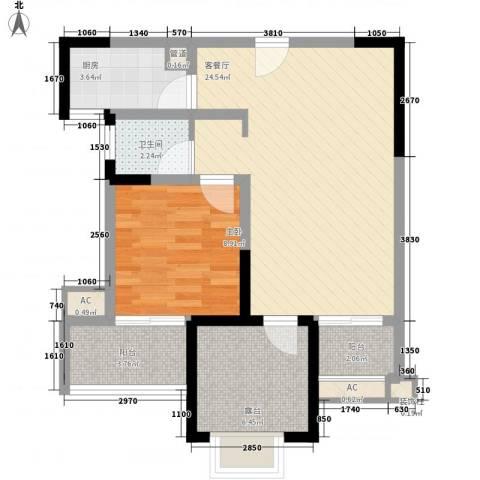 常发香城湾1室1厅1卫1厨63.00㎡户型图