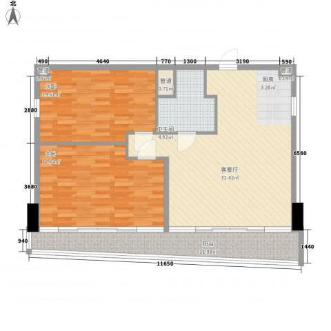 双大国际公馆2室1厅1卫0厨114.00㎡户型图
