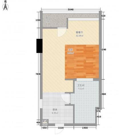 双大国际公馆1厅1卫0厨60.00㎡户型图