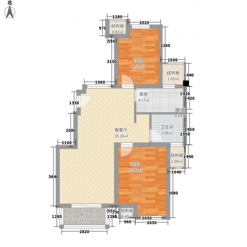 保利西塘越87.71㎡一期A4户型2室2厅1卫1厨