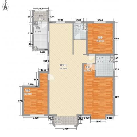 中冶世家3室1厅2卫1厨156.00㎡户型图