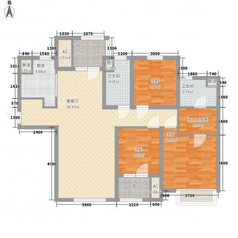 「大连天地」悦翠台3室1厅2卫1厨124.00㎡户型图