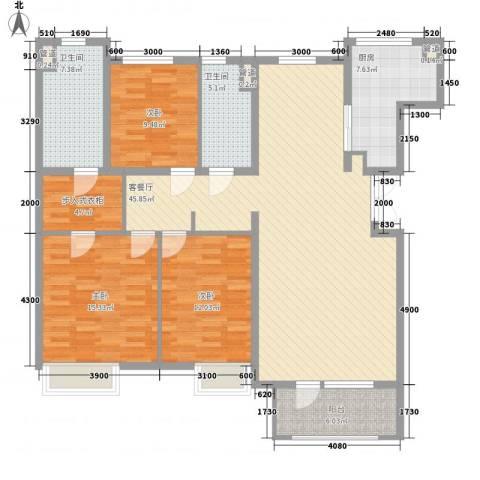 「大连天地」悦翠台3室1厅2卫1厨142.00㎡户型图
