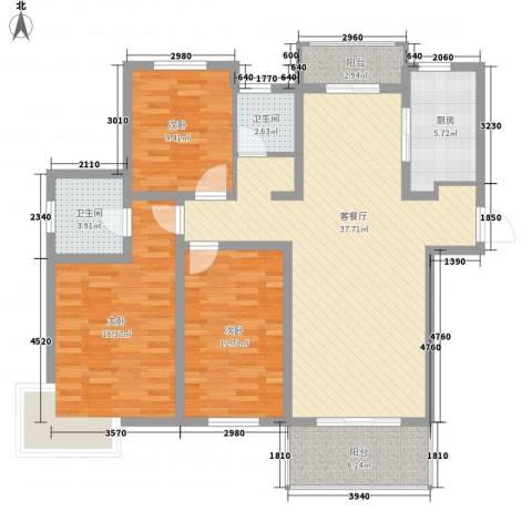 月星公馆3室1厅2卫1厨97.65㎡户型图