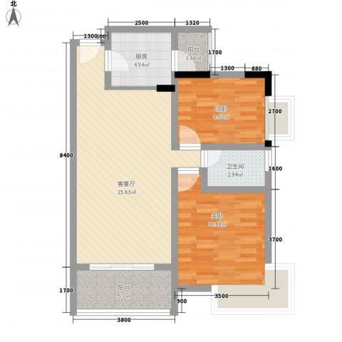 丽景花园2室1厅1卫1厨87.00㎡户型图