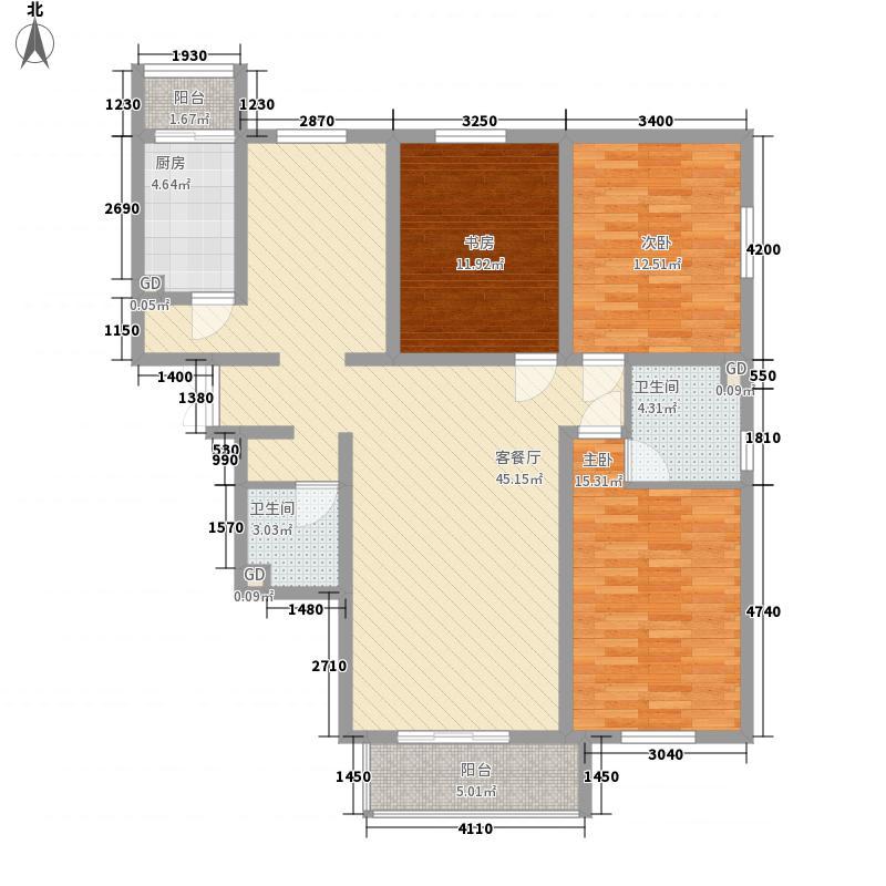 东岸春天里8号楼C型(已售完)户型3室2厅2卫1厨