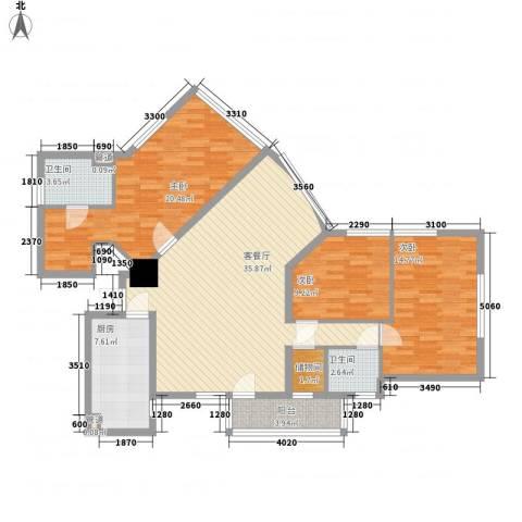 龙珠公寓3室1厅2卫1厨142.00㎡户型图