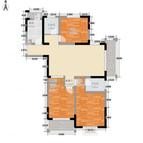 万福・君临天下3室1厅2卫1厨124.00㎡户型图