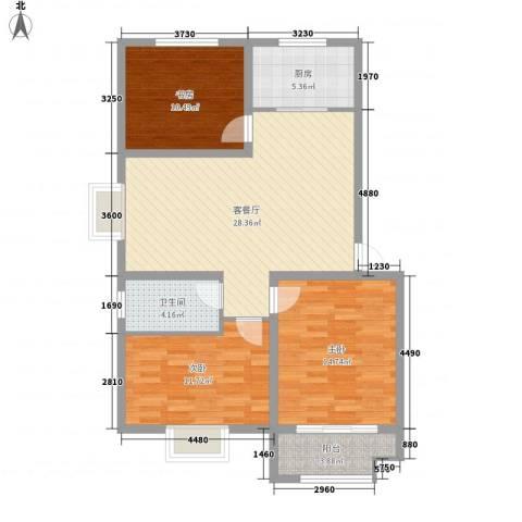 世纪名城3室1厅1卫1厨112.00㎡户型图