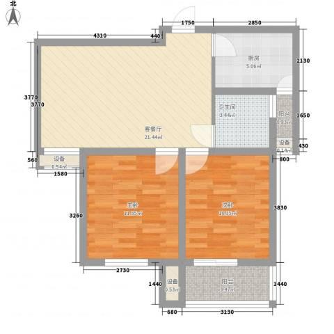 紫东国际2室1厅1卫1厨94.00㎡户型图