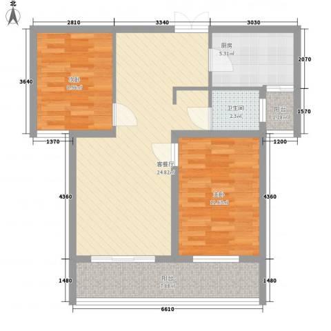 中邦城市花园2室1厅1卫1厨90.00㎡户型图
