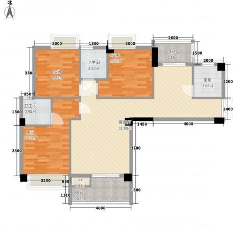 亿力悦海3室1厅2卫1厨81.14㎡户型图