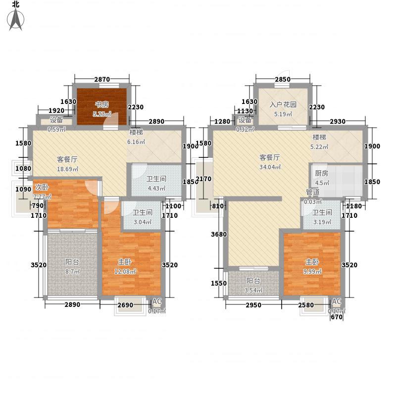 海晟维多利亚177.00㎡134楼跃层户型3室2厅3卫1厨