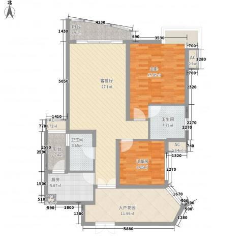 盛世华南2室1厅2卫1厨123.00㎡户型图