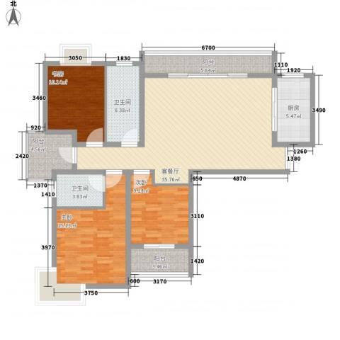 中邦城市花园3室1厅2卫1厨144.00㎡户型图