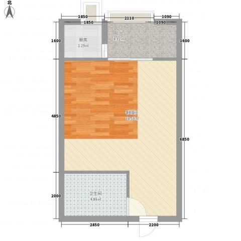 东泰城市之光1厅1卫1厨54.00㎡户型图