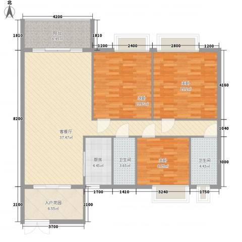 万威美地3室1厅2卫1厨124.00㎡户型图