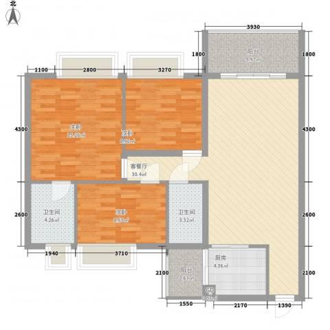 万威美地3室1厅2卫1厨83.88㎡户型图