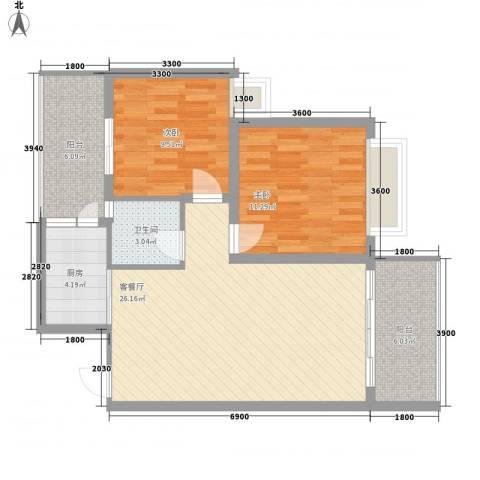 万威美地2室1厅1卫1厨66.30㎡户型图