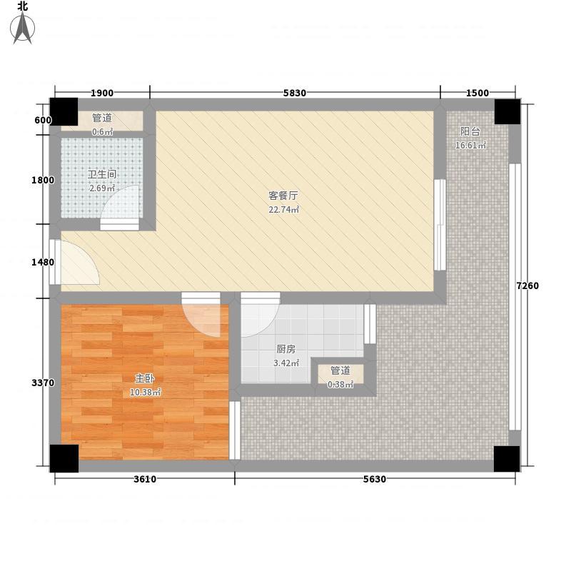 印尼园7.35㎡15号楼B3户型1室2厅1卫1厨
