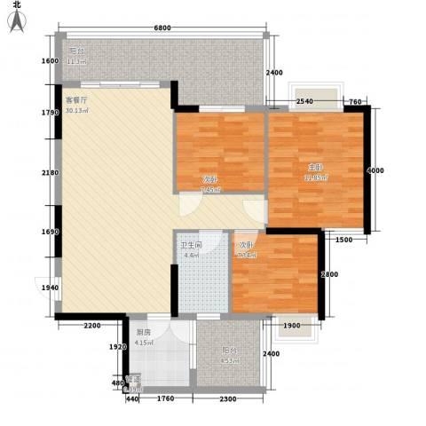 岭南世家3室1厅1卫1厨81.25㎡户型图