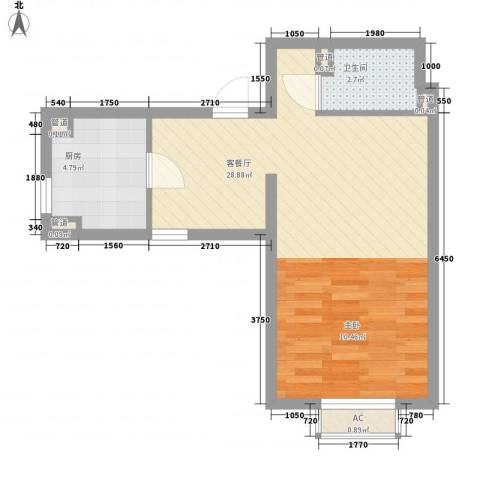 明天第一城1号院1厅1卫1厨54.00㎡户型图