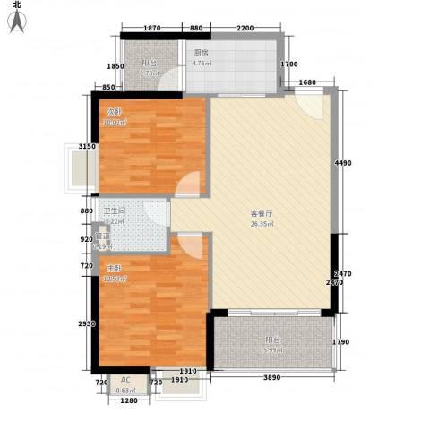 碧水天源枫景台2室1厅1卫1厨83.00㎡户型图